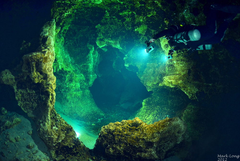 A diver swims through Devil's Spring System at Ginnie Springs