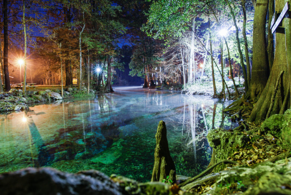 Image of Little Devil's Spring at night at Ginnie Springs.