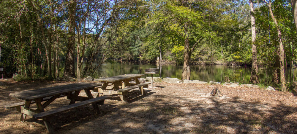 Image of an empty campsite next to the Santa Fe River at Ginnie Springs.