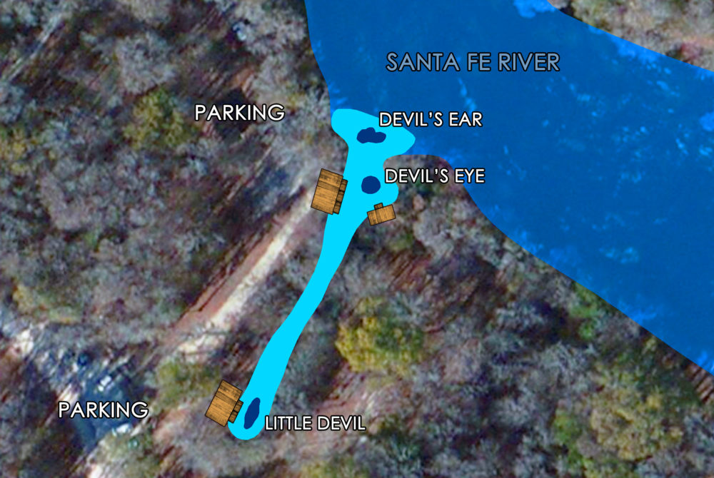 Map image of the Devil's Spring System three springs leading into the Santa Fe River